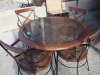VINTAGE SET OF 4 CANED CHAIRS AND MATCHING TABLE