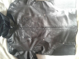 Black leather womens biker jacket with removable inner jacket