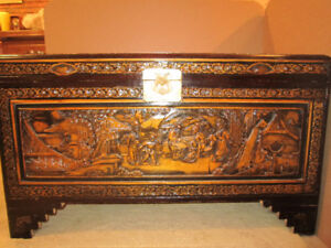Chinese  Furniture Carved Treasure Trunk