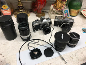 2 Vintage Cameras with Extra Lenses $100 or Trades? 204-296-9460