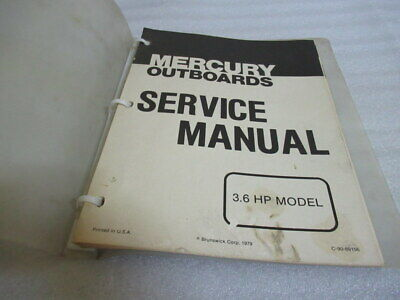 Mercury Outboard 3.6 HP Model Factory OEM Service Repair Manual P/N C-90-89156