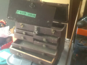Vintage homemade wood machinist tool box multiple drawers