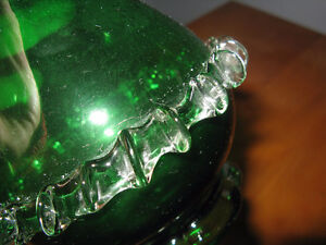 Handblown Green Art Glass bottle with applied details London Ontario image 5