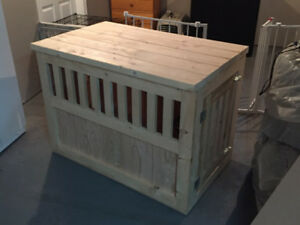 Custom built dog crate and coffee table end table