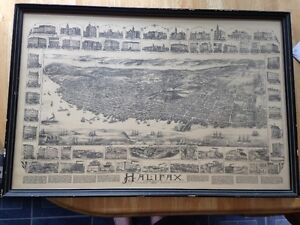 1890 Map of Halifax D D Currie Illustrated buildings