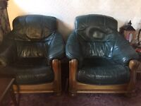 2 Green Leather Armchairs