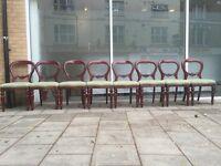 Mahogany extendable table and 8 ballon back chairs