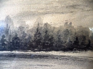 "Original Northern Landscape Watercolor by K.Rooney  ""Shoreline"" Stratford Kitchener Area image 7"