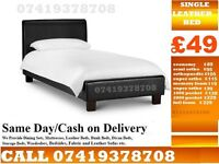LATEST SINGLE LEATHER BED FRAME WITH MEMOREY FOAM MATTRESS