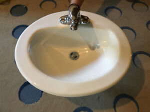 MOEN faucet and white bathroom sink $50 each (4 available)