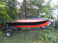 Solid deep and wide 14' boat and sturdy trailer.