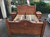 Double bed with matching bed side tables