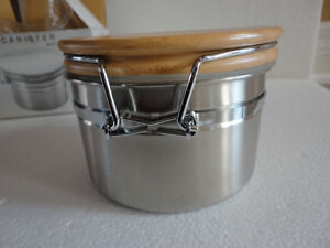 Brand new in box stainless steel canister with wooden lid London Ontario image 7