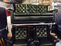 Green Chesterfield 3 11 leather sofa set