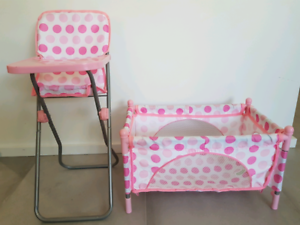Doll High Chair and Bassinet