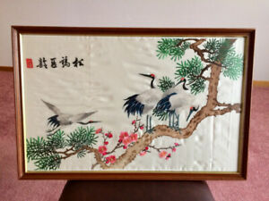 Hand Embroidered Silk Art – Crane Motif
