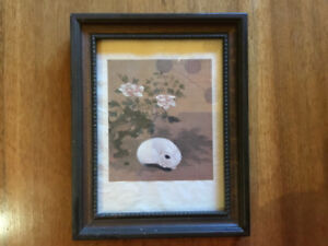 Chinese Album Leaf framed print - Cat, Rock and Peonies