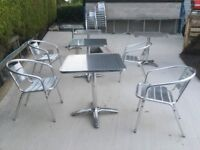 Aluminium table and chairs.