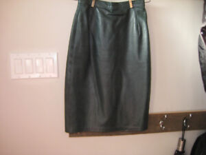 Two deerskin leather skirts (green and black)