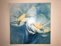 Large blue floral canvas print