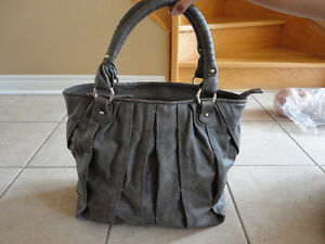 Zara grey faux leather handbag purse shoulder bag large EUC