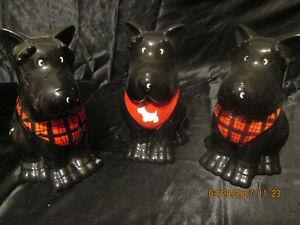L@@K! 3 SCOTTIE DOGS COOKIE JARS FOR SALE