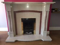 Solid marble fireplace and gas fire