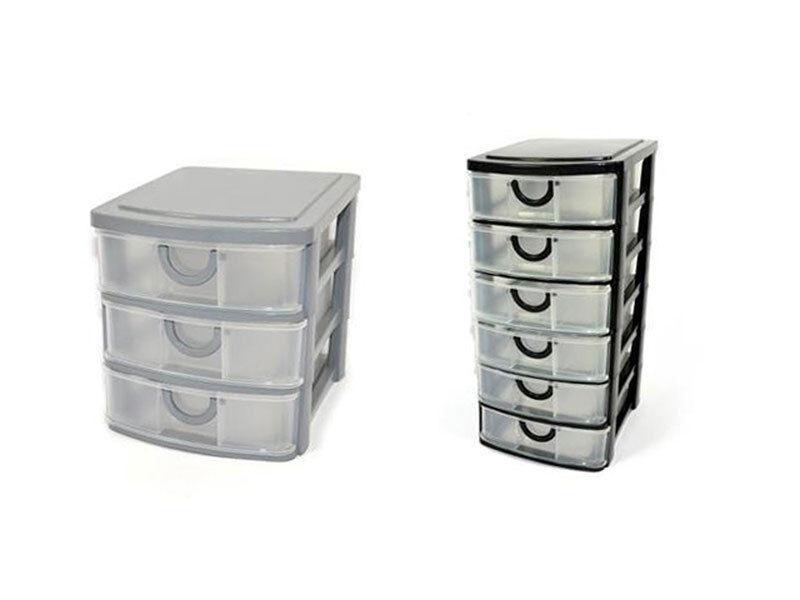 Cassettiera in plastica multiuso portaoggetti minuterie organizer 6 e 3 cassetti
