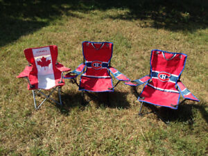 Three child size lawn chairs