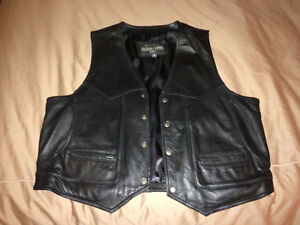 Leather Biker vest, size 48, NEW