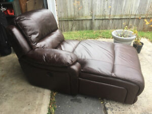 Leather Chaise Couch Recliner, mint condition