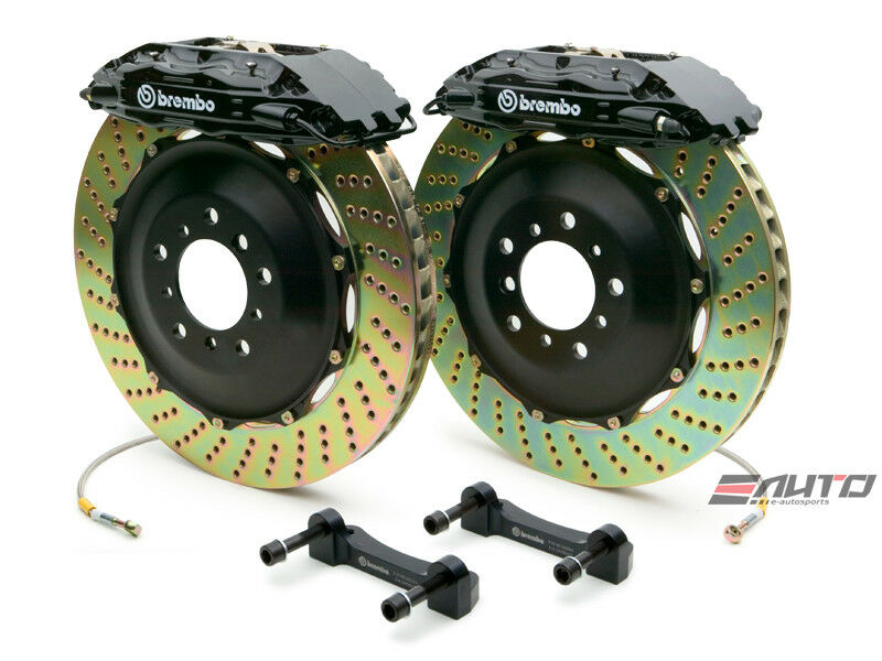 Brembo Rear  Gt Brake Bbk 4pot Black 380x32 Drill Escalade Chevy Gmc 1500 07-14