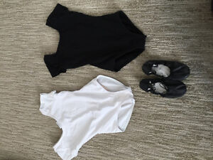 2 medium Girls dance bodysuits(Capezio) and Bloch dance slippers