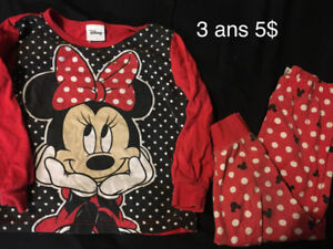 Pyjamas disney 3 ans 5$
