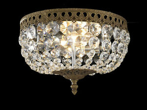 2-Light Crystal-Wrapped Flush-Mount Fixture – 1 ONLY!!