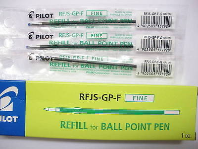 12 Refill Set Pilot Rfjs-gp-f 0.7mm Fine Ball Point Pen For Super Grip Pen G