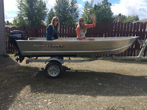 12 ft Prince Craft aluminum boat/motor/trailer for sale. Prince George British Columbia image 1