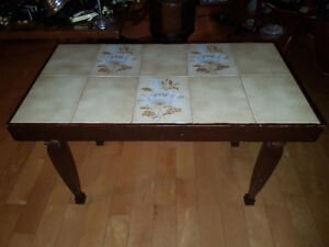 Vintage mid-century wooden coffee table or accent table with Til