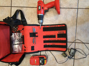 Cordless battery powered drill and bit set
