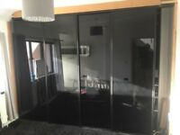 Sliding wardrobe doors -Black Glass
