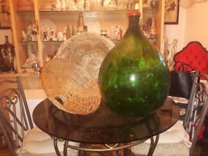 1 Beautiful French green Demijohn with wicker covering