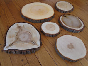 Wooden center-pieces, discs, slices, coasters, rustic wedding