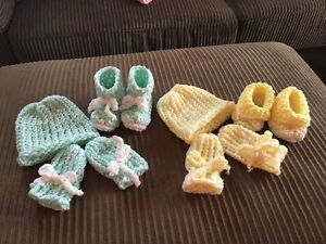 Baby Sets; New Born  (Hat, Booties & Mitties)