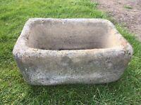 Stone garden pot oblong in shape