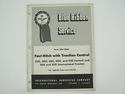 Fast Hitch Traction Control Service Manual Farmall International Harvester 1957