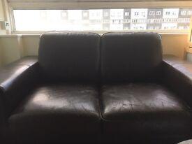 Black leather sofa £25 URGENT