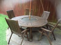 Large Teak Table with 5 chairs