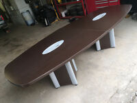 2013 Conference Table Dark Wood w/ Flip-up Power Bars