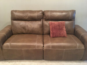 Genuine leather sofa and chair power recliner