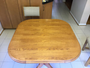Wooden Dining Table + Six Chairs & Custom Made Glass Top